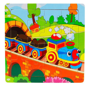 Wooden Kids 16 Piece Train Jigsaw Toys Education And Learning Puzzles Toys