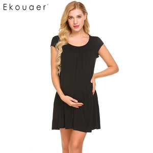 Maternity Nursing O-Neck Front Ruched Sleepdress with Pocket