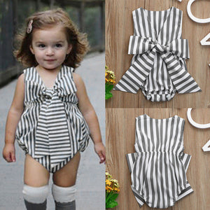 Striped Bow Sleeveless Romper