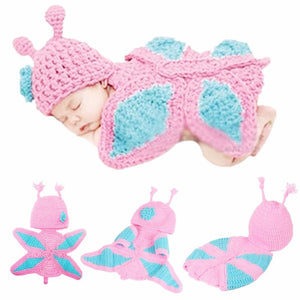 Pink Knitted Butterfly Baby Wrap