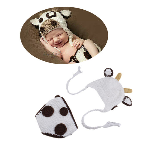 Cow Crochet Hat and Diaper Cover 2pc Set
