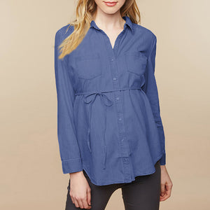 Long Sleeve Button Up Maternity Top