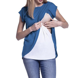 Cap Sleeves Double Layer Nursing Top 4 colors