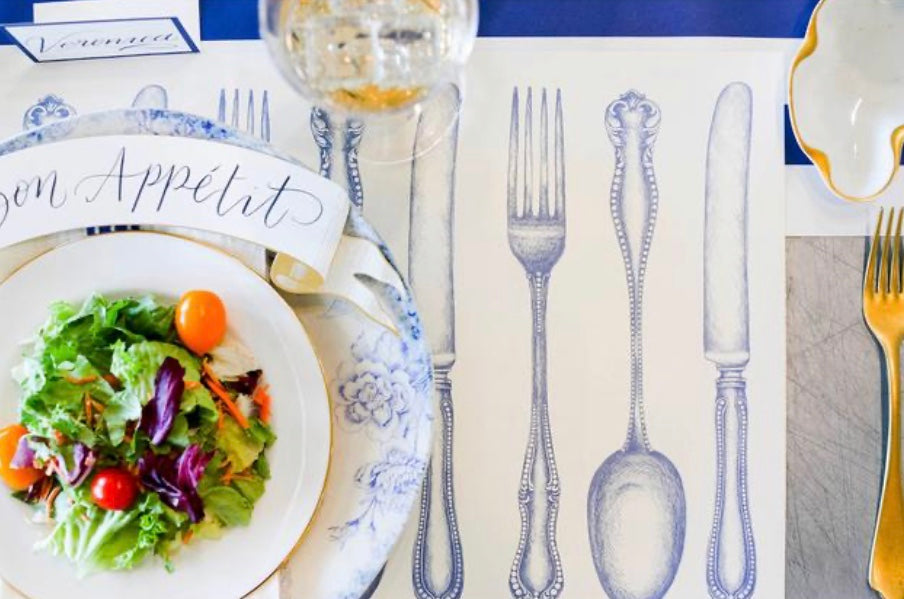 Hester & Cook - Vintage Blue Cutlery Placemat