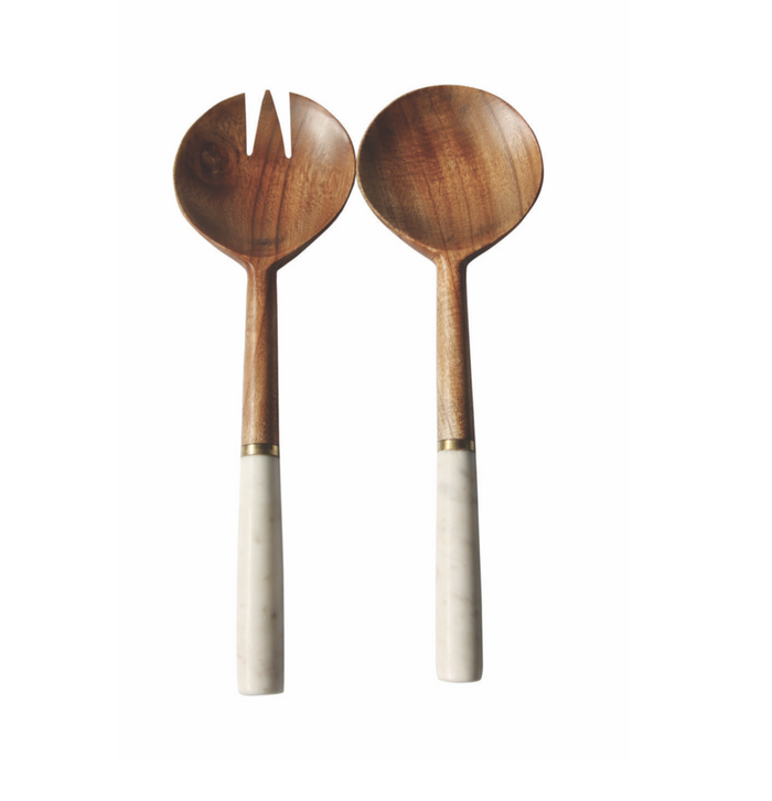 Be Home - Wood & Marble Servers with Gold Band