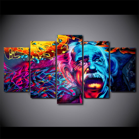 5 Piece Canvas Art Abstract Einstein - My Home Wall