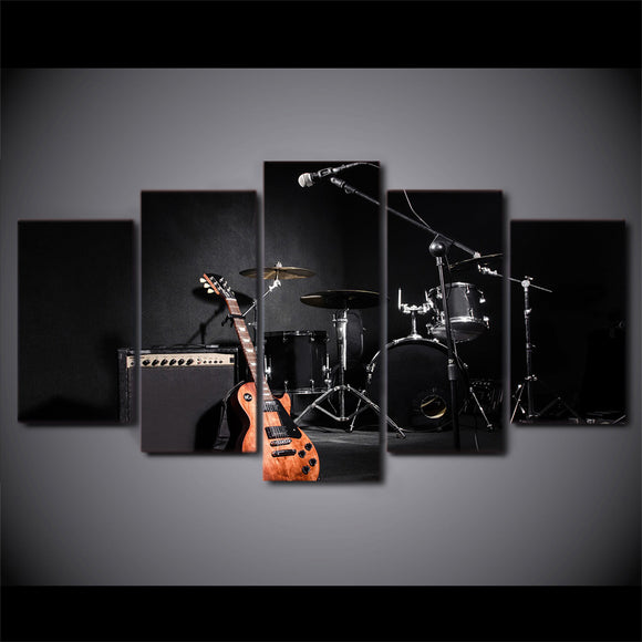 5 piece canvas painting music guitar drum instruments - My Home Wall
