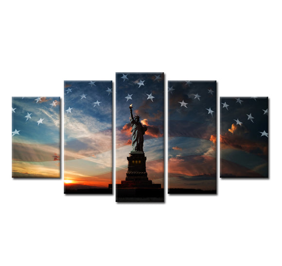 HD 5 Panels American Flag Canvas Art Status of Liberty - My Home Wall