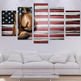 Framed 5pcs Print Boxing Pride US flag - My Home Wall