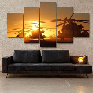 5 Panel Military Aircraft - My Home Wall