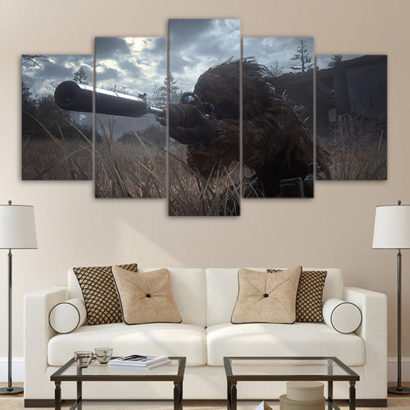 5 piece canvas art Mil Sniper paintings - My Home Wall