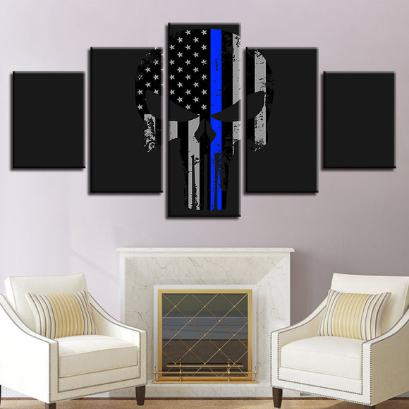 Thin Blue Line Abstract 5 Pieces - My Home Wall