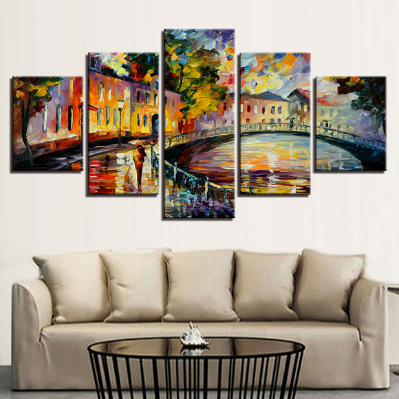 5 Piece HD Prints City Bridge Streetscape - My Home Wall