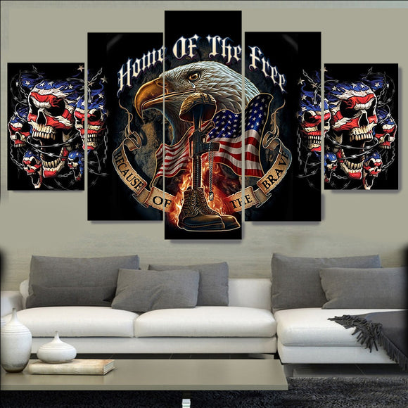 5panel HD printed Eagle skull flag canvas - My Home Wall