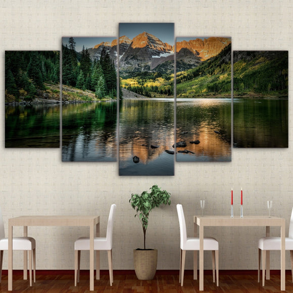 Home Wall Frame Modern Poster HD Printed 5 Pieces Canvas Art - My Home Wall
