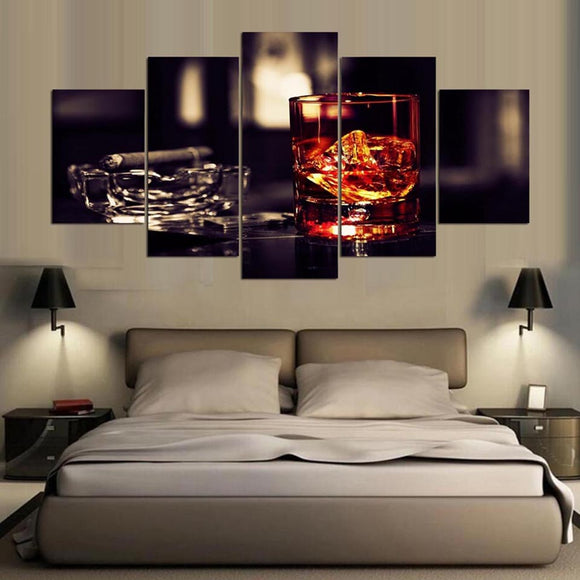 5 Panel Cigar Wine - My Home Wall