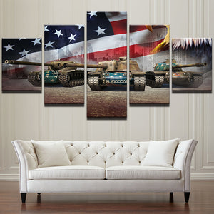 5 Panel American Flag Canvas Landscape - My Home Wall