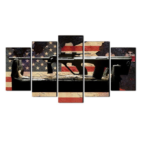 5 Panel American Flag Gun Wall - My Home Wall