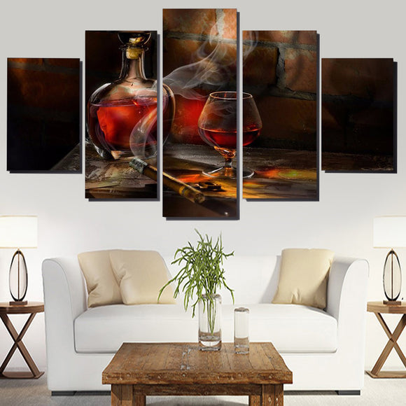5 Panel Red Wine Glasses - My Home Wall