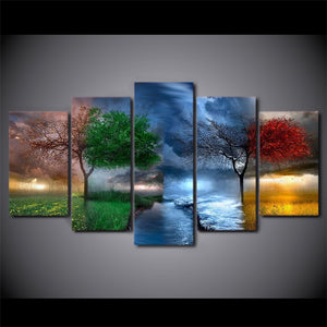 Nature 4 seasons Painting Canvas - My Home Wall