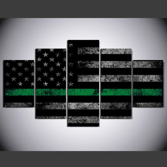 Thin Green Line 5 Panel National Flag Logo Wall Art - My Home Wall
