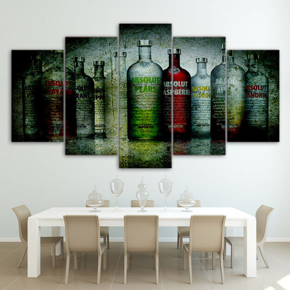 5 Panel Vodka Bottles - My Home Wall