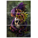 Flowery Skull by Sunima-MysteryArt HD print 3 piece canvas - My Home Wall