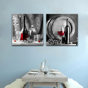 High Quality 2 Pieces Canvas Painting Red Wine and Glass - My Home Wall