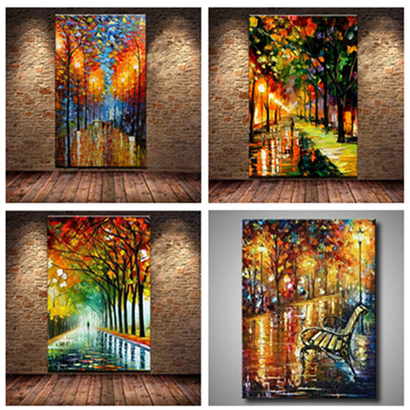 Unframed - 3D Knife Streetscape Oil Painting On Canvas Abstract - My Home Wall