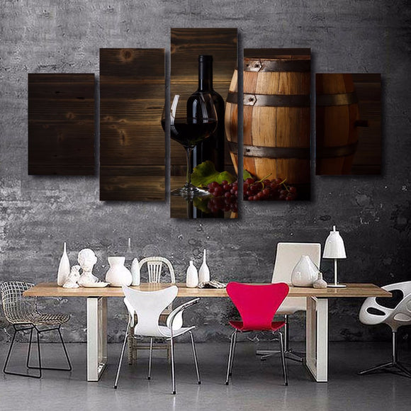 5 Panel Red Wine Grapes - My Home Wall