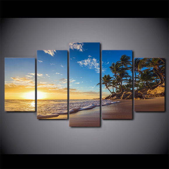 5 piece canvas sunset tropical beach - My Home Wall
