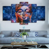 5 piece Buddha statue Picture Blue Canvas - My Home Wall