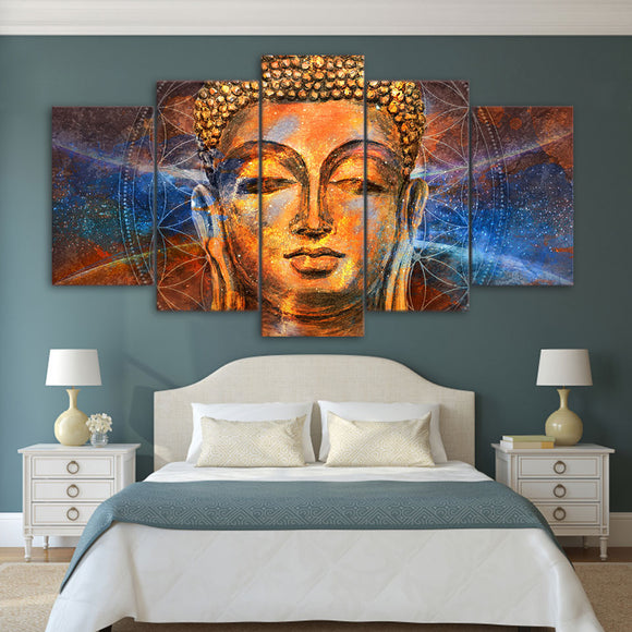 5 piece Golden Buddha - My Home Wall