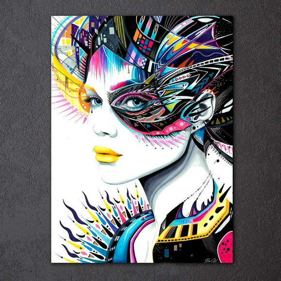 Native Girl & In My Mind by Pixie Cold Art HD print 1 piece canvas - My Home Wall