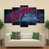 tree leaves purple autumn Painting - My Home Wall