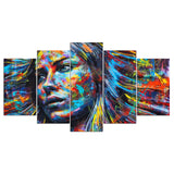 5 panel canvas art tree waterfall horse scenery painting - My Home Wall