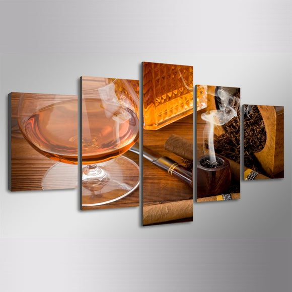 5 Pieces Wine Glass Cigar - My Home Wall