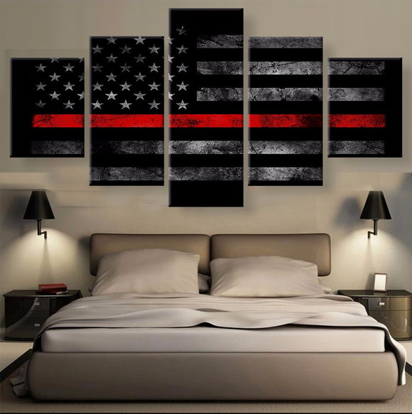 5 Panels Thin Red Line - My Home Wall