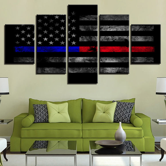 Thin Blue & Red Line - 5 Panel American Flag Canvas - My Home Wall