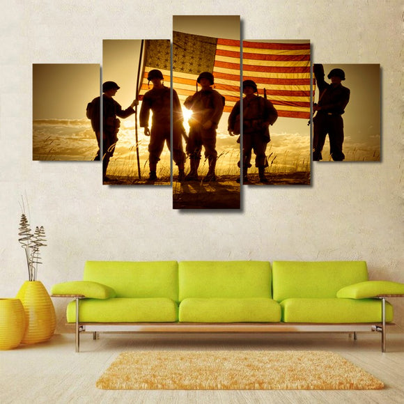 5 Pieces Silhouette American Soldiers - My Home Wall