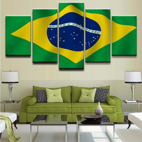 5 Panels Flag Of Brazil - My Home Wall