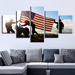 Modern 5 Panel National Flag Soldiers - My Home Wall