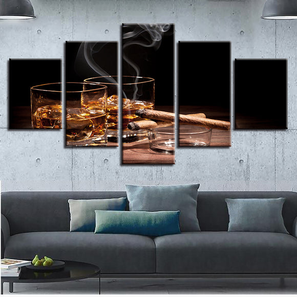 5 Panel Wine Cigar - My Home Wall