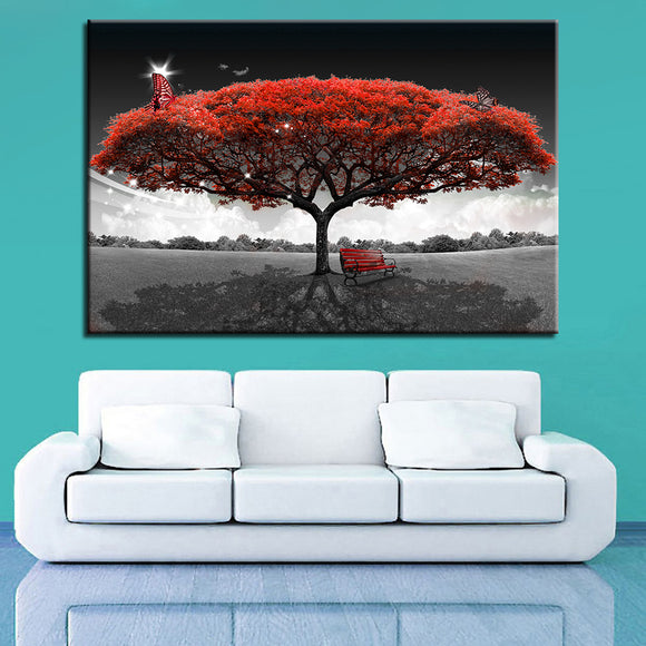 Canvas Painting Wall Home Decor 1 Piece Red Tree Art - My Home Wall