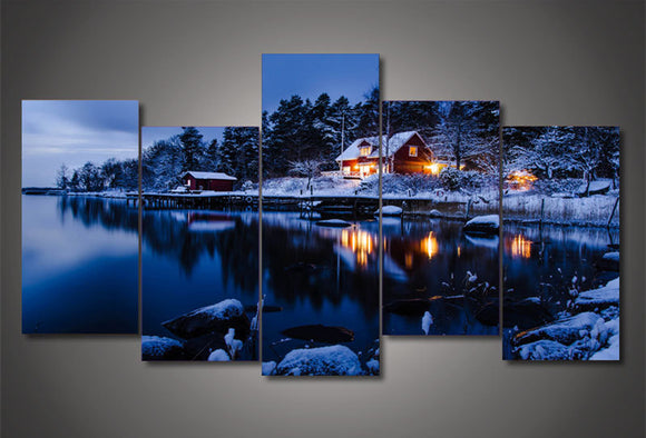 5Piece Canvas Art Snow Lake - My Home Wall