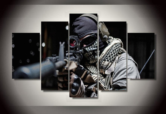 Masked sniper canvas abstract print - My Home Wall