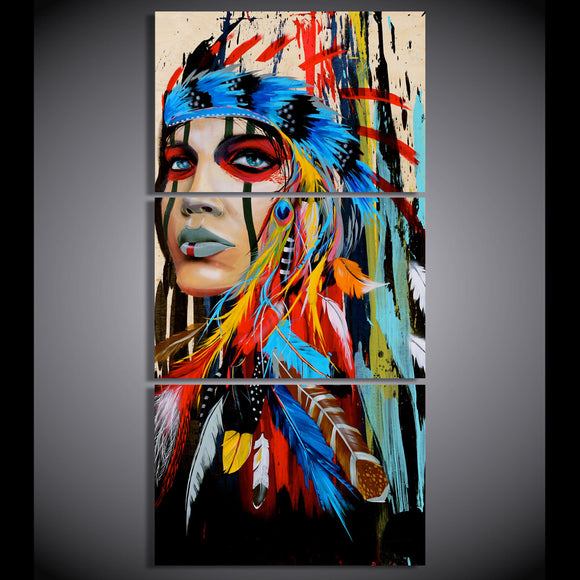 HD printed 3 piece canvas art native American Indian with feather Painting - My Home Wall