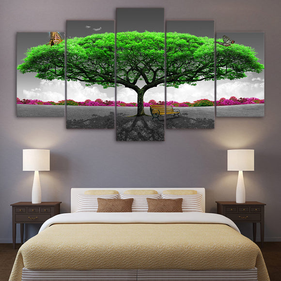 5 Piece Canvas Art butterfly Green trees abstract - My Home Wall