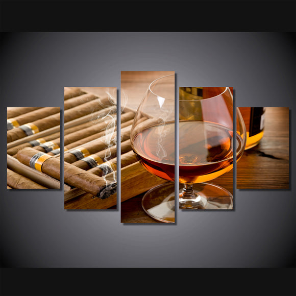 5 Pieces Wine Glass Cigars - My Home Wall