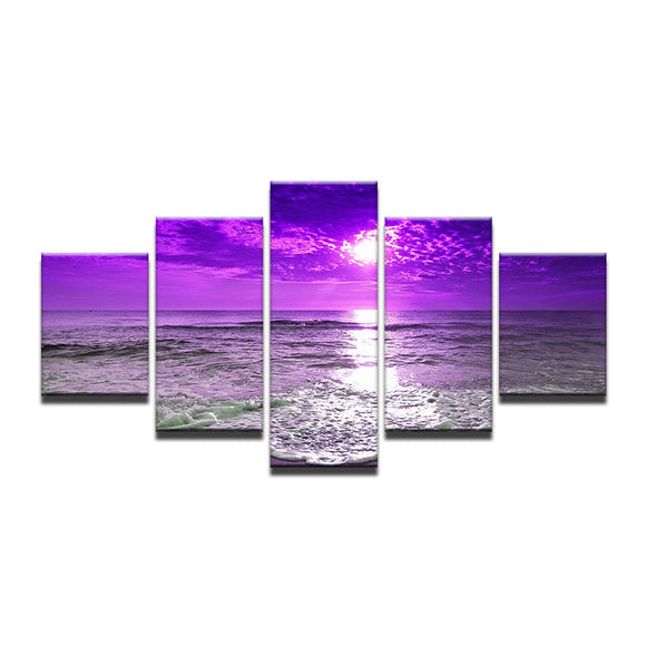 5 Pieces Purple Sunset Sea Waves - My Home Wall
